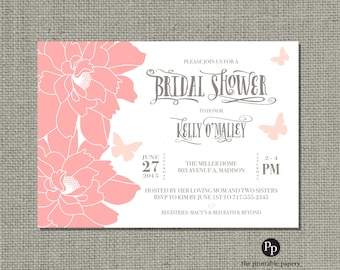 Printable Bridal Shower Invitation Card | Butterflies & Flowers | Blush Coral Floral and Typography Design | Customize | DIY - No. FBD-100
