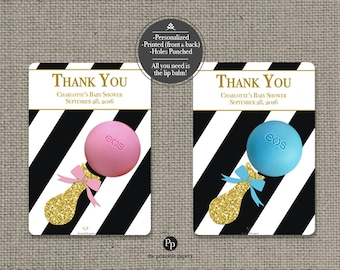 Printed Baby Shower Sprinkle Party Favors for EOS lip balm | Thank You Favor tags | 12 Favor Tags| No. P-STP-EOS