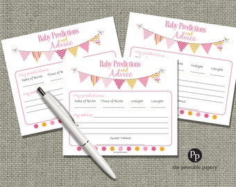 Baby Predictions & Advice for Mom Cards | Baby Shower Game| Pink Orange Bunting Banner Elephant Design |bal|  BBL-133ef