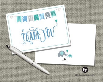 Printable Book Thank You Card for Baby Shower | Elephant Balloon Bunting Banner Typography Design | BBE1-1 THX