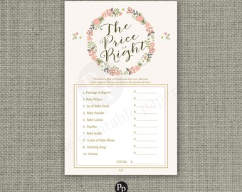 The Price is Right Shower Game | Baby Shower Game | Blush Foral Wreath and Calligraphy Design | Calligraphy BFR--133H