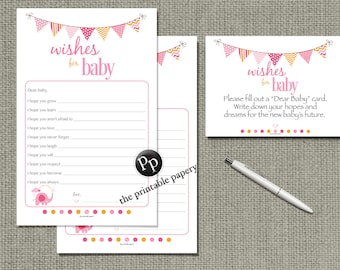 """Printable """"Wishes for Baby"""" Game   Baby Shower Game  Pink Orange Bunting Banner Elephant Design   Dear Baby, I hope...   BBL-133a"""