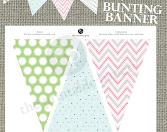 Printable Bunting Banner | Green White Dots | Stripes Decor | Gender Neutral Banner | Instant Download | DIY | No. BAC-121