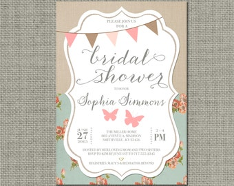Shabby Chic Bridal Shower Invitation Card | Rustic Butterfly | Bunting Banner | Floral Linen Vintage | Customize | DIY - No. SBL2-2