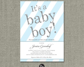 "Printable Blue & Silver Glitter Baby Shower Invitation Card | ""It's a baby boy!"" IAG Design | Customize | DIY - No. FUDBP1-1"