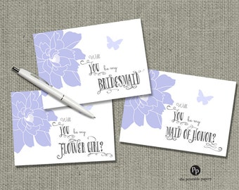 Printable Will you be my... Bridesmaid, Maid of Honor  & Flower Girl Cards| Floral and Butterfly | WPC-1+2