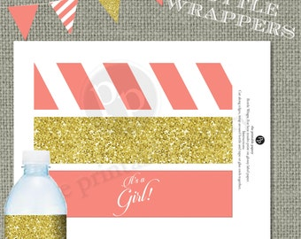 Printable Water bottle Wrapper| Coral Stripes & Gold Glitter Decor | It's a Girl! Calligraphy| Instant Download | DIY | No. WBR-123