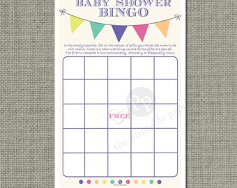 Bingo Baby Shower Game |Bingo with Shower Gifts| Bunting Banner Typography Design | WFB-133c