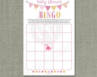 BINGO Baby Shower Game |Bingo with Shower Gifts| Pink Elephant | Pink Orange Bunting & Lettering Design |BBL-133C