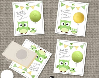 Baby Shower Owl Gift Tags for EOS lip balm | INSTANT DOWNLOAD | Thank You Favor Tags | No. Owl2-EOS1