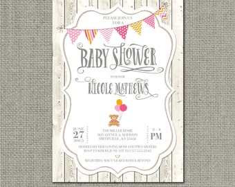 Printable Baby Shower Invitation Card | Shabby Chic Rustic Bear Balloons Bunting Design | Whitewashed Fence | Customize | DIY - No. BAL1-1