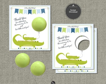 Baby Shower Alligator Gift for EOS lip balm | INSTANT DOWNLOAD | Thank You Favor Tags | No. ALG-eos