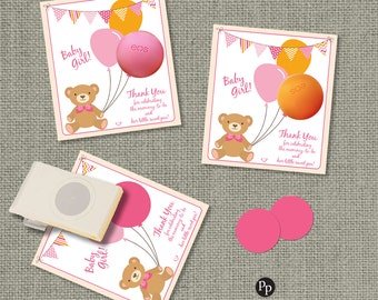 Baby Shower Pink Bear Gift Tags for EOS lip balm | INSTANT DOWNLOAD | Favors | No. BAL1-EOS1