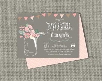 Printable Baby Shower Invitation Card |Mason Jar Flower Design | Ball Jar Floral | Customize | DIY - No. BWW1-1