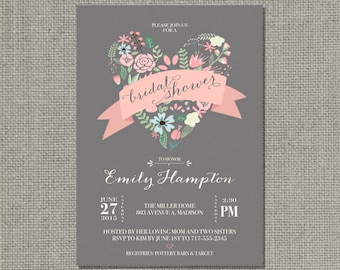 Printable Bridal Shower Invitation Card | Flower | Floral and Calligraphy Design | Customize | DIY - No. HRG1-1