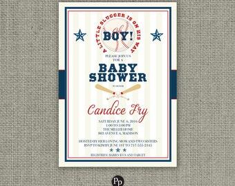 Printable Boy Baseball Sports Baby Shower Invitation Card | Oh Boy! A little Slugger is on his way! | Baseball | Customize | DIY- No. SBA1-1