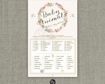 "Animal Matching ""Who's my mama?"" Baby Shower Game | Blush Floral Wreath | Calligraphy | Printable DIY | Baby to Mom Animal  | BFR-133B"