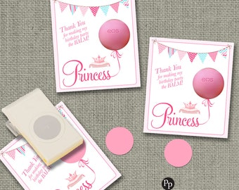 Birthday Party Gift Tags for eos Lip Balm | INSTANT DOWNLOAD | Princess Design Thank You Favor Tags | No. PR2-EOS