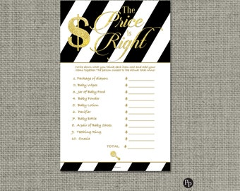The Price is Right Shower Game | Baby Shower Game | Black and White Stripe with Gold Glitter Lettering Design | Calligraphy| BSA | IAGB-133H