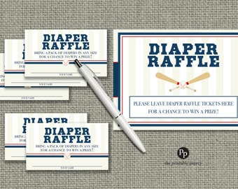 Baby Shower Diaper Raffle | Baseball Sports Theme Raffle Ticket | Baseball l Design | Instant Download | SBA-133DR