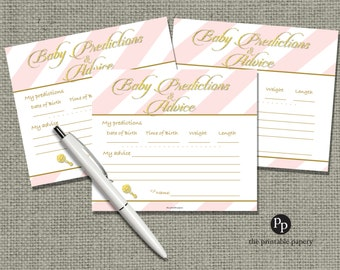 Baby Predictions & Advice for Mom Cards | Baby Shower Game| Pink White Stripe with Gold Glitter Design |  IAG-133ef