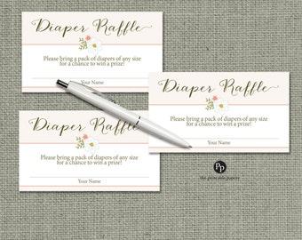 Baby Shower Diaper Raffle | Baby Shower Raffle Ticket | Calligraphy & Blush Floral Design | Instant Download | BFR-133DR