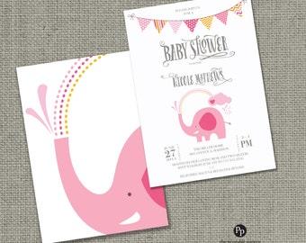 Printable Baby Shower Invitation Card |Elephants Balloon Design | Pink Elephant Shower | Customize | DIY - No. BBL1-1