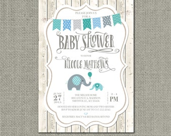 Shabby Chic Printable Baby Shower Invitation | Rustic Elephant Balloon Bunting Design | Whitewashed Fence Card | Customize | DIY- No. BAM1-1