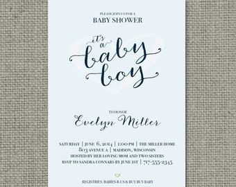 """Printable Blue Baby Shower Invitation Card 