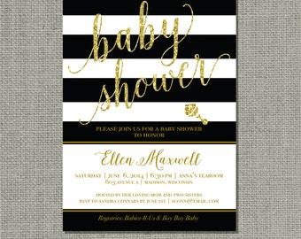 Printable Black White Stripes Gold Glitter Baby Shower Invitation Card | Digital Download | Customize | BSA | DIY - No. BSZ2-2