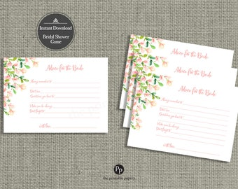 Advice for the Bride Cards for Bridal Shower | INSTANT DOWNLOAD | Bridal Shower Game | Rose Watercolor Design |  HN-133E1