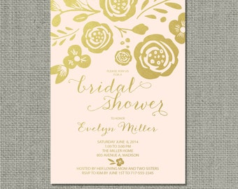 Printable Bridal Shower Invitation Card | Flower Blush Gold | Floral and Calligraphy Design | Customize | DIY - No. WCC-15