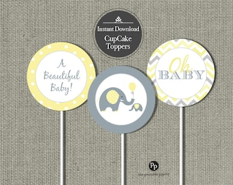 Baby Shower Elephant Cupcake Toppers | Baby Shower Yellow Gray Elephants balloon | Oh Baby |Yellow Polka dot Elephant Design |  BBE7-122C