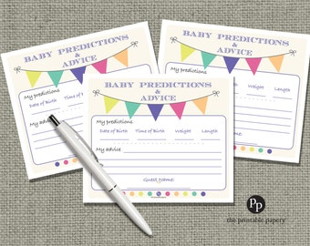 Baby Predictions & Advice for Mom Cards | Baby Shower Game| Bunting Banner Typography Design |  WFB-133ef