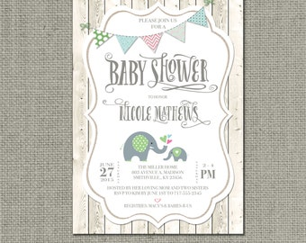 Shabby Chic Printable Baby Shower Invitation | Rustic Fence Elephant Hearts Bunting Design| Gender Neutral Card |Customize | DIY- No. BAC2-2