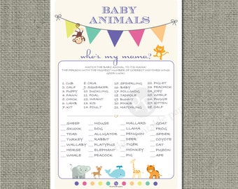Printable Animal Matching Game  Baby Shower | Baby to Mom Animal  | Bunting Banner Typography Design | Elephant | Whale | Monkey | WFB-133B