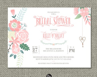 Printable Bridal Shower Invitation Card | Flower | Floral and Calligraphy Design | Digital Download | DIY - No. BRW7-7