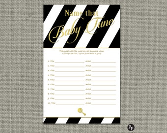 Name that Baby Tune Baby Shower Game | Baby Songs Game | Black White Stripe with Gold Glitter Lettering Design | Calligraphy| BSA| IAGB-133G