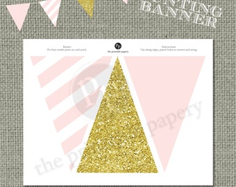 Printable Bunting Banner | Pink Stripes & Gold Glitter Decor | Instant Download | DIY | IAG| No. BAN-122