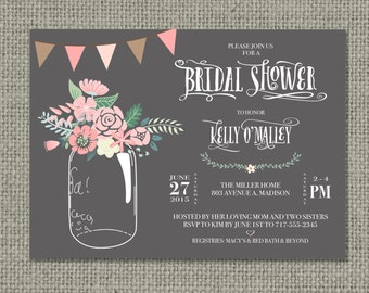 Printable Wedding Shower | Bridal Shower Invitation Card | Mason Jar Flower Design | Ball Jar Floral | Customize | DIY - No. BRW-1-33