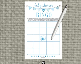 BINGO Baby Shower Game | Bingo with Shower Gifts| Blue Elephant | Blue Bunting | Instant Download | BBM-133C