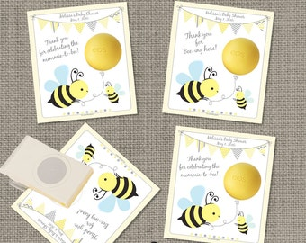 Bumble Bee Baby Shower Gift Tags for EOS lip balm   Printable Party Favor Tags   No. BEE-EOS