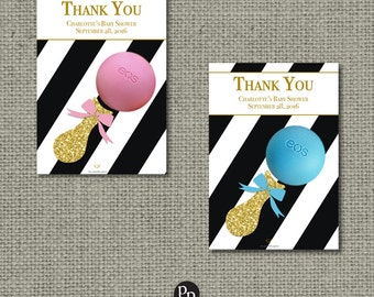 Printable Baby Shower Gift Tags for EOS lip balm | Pink Blue Green Black Stripe Favor Tags | IAG iab | No. STP-EOS1