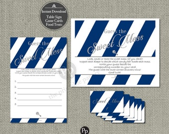 Guess the Mess | Diaper Mess Game | Instant Download | Dark Blue White Stripe with Silver Glitter Lettering Design | Calligraphy IAN-133O