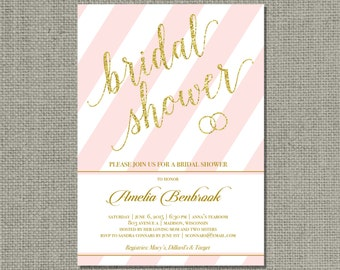 Printable Pink & Gold Glitter Bridal Shower Invitation Card | Stripe and Calligraphy Design | Customize | DIY - No. SARR2-2