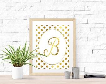 Printable Wall Art | Typography Dot and Initial Gold Foil Graphic Home Decor Sign | No. DIA1-1