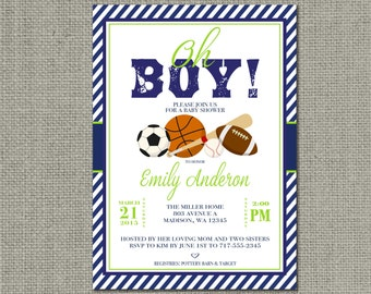 Printable Boy Sports Baby Shower Invitation Card | Football Baseball Basketball Soccer Design | Digital Download | DIY - No. BBB1-1