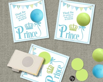 Baby Shower Gift Tags for eos lip balm gifts | Prince Thank You Tags | INSTANT DOWNLOAD | Favor Tags | No. PRN1-EOS