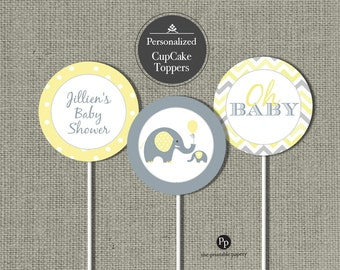Personalized Baby Shower Elephant Cupcake Toppers | Baby Shower Gray Elephants balloon | Oh Baby | Polka dot Elephant Design | BBE7-155C