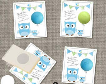 Baby Shower Owl Gift Tags for EOS lip balm | INSTANT DOWNLOAD | Thank You Favor Tags | No. OWL4-EOS1